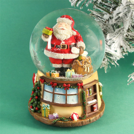 Traditional Wind Up Father Christmas Snow Globe with Music